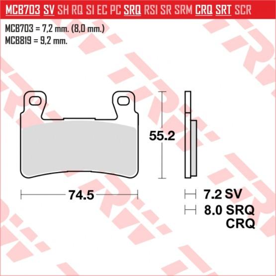 TRW/LUCAS MCB703SV - накладки тормозные