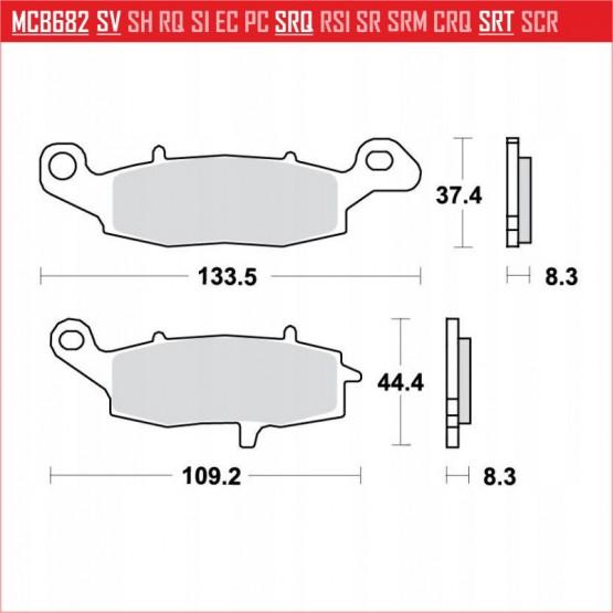 TRW/LUCAS MCB682 - накладки тормозные