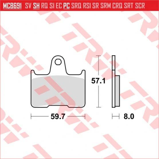 TRW/LUCAS MCB691SH - накладки тормозные